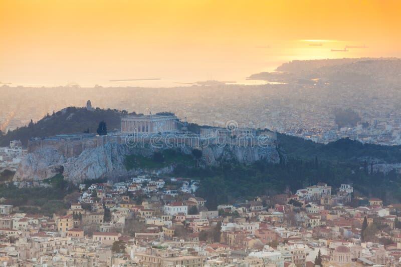 Panorama durante o por do sol em Atenas, Grécia fotografia de stock