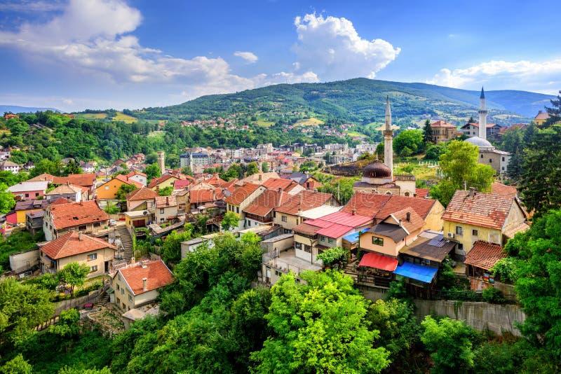 Panorama dziejowy stary miasteczko Travnik, Bośnia zdjęcie royalty free