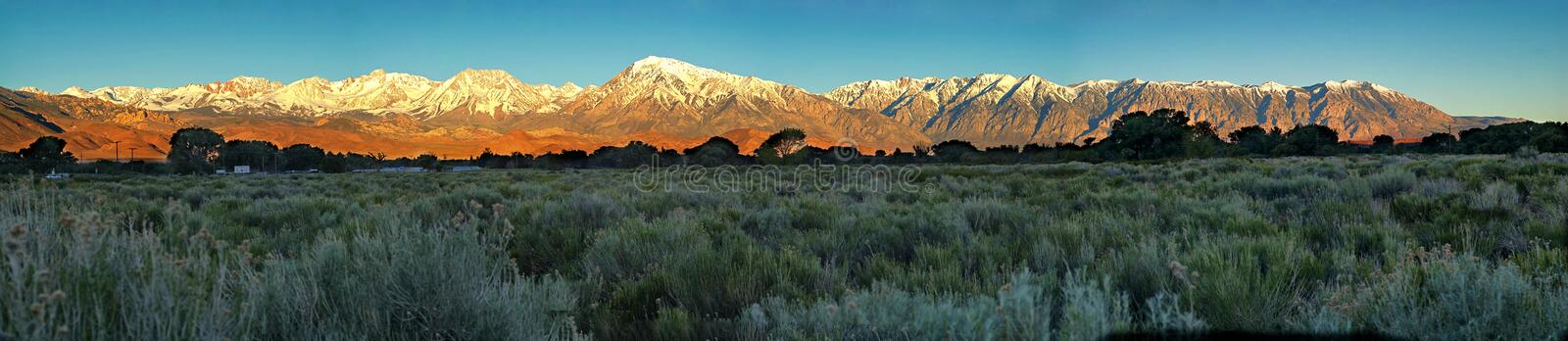 Panorama of the eastern Sierras near Bishop, California. stock photos