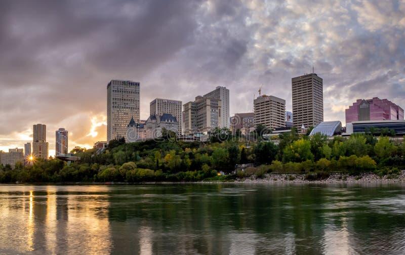 Panorama of Edmonton`s skyline. At dusk in Edmonton, Alberta. The Saskatchewan River is in the foreground royalty free stock photos