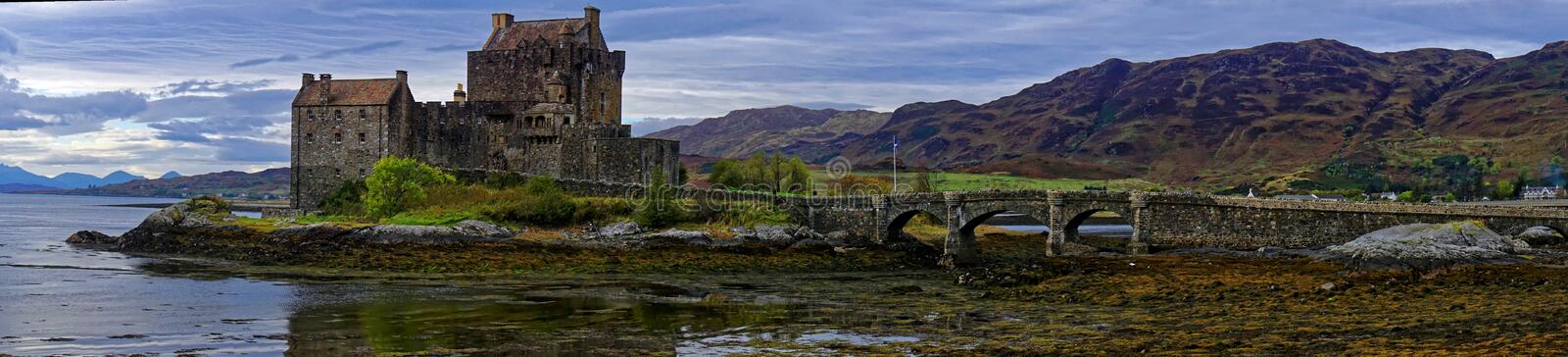 Panorama of Eilean Donan Castle and Loch stock photography