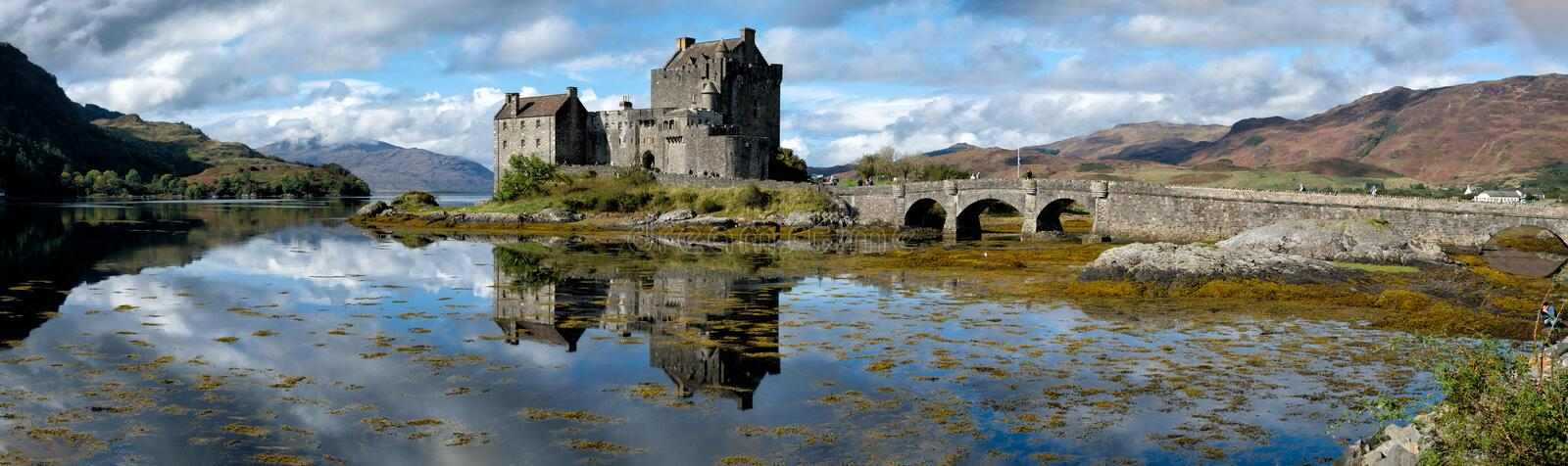 A Panorama of the Eilean Donan Castle on a Sunny Afternoon in Scotland. stock images
