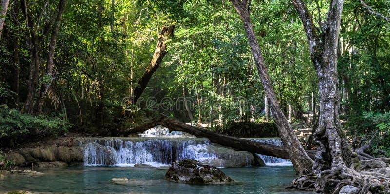 Panorama eines schönen Wasserfalls im dichten Wald Nationalparks Erawan in Thailand stockbilder