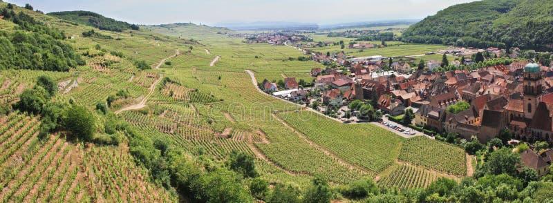 Panorama eines Weinbergs und des Dorfs in Frankreich stockbilder