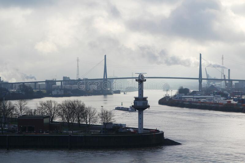 View to Hamburg port from Docklands. Panorama of the Elbe river and Hamburg port from Docklands, Germany stock images