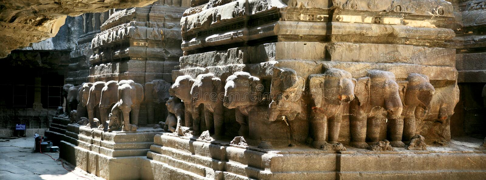 Panorama of Ellora caves in India royalty free stock photos