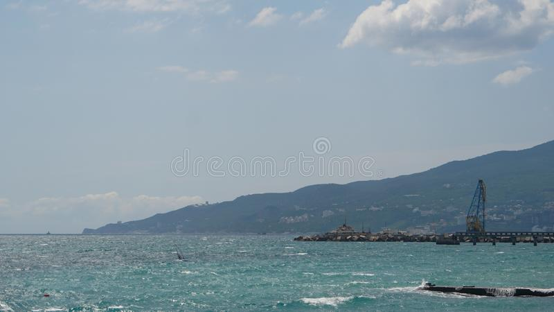 Panorama of embankment, sea coast landscape, Crimea stock photography