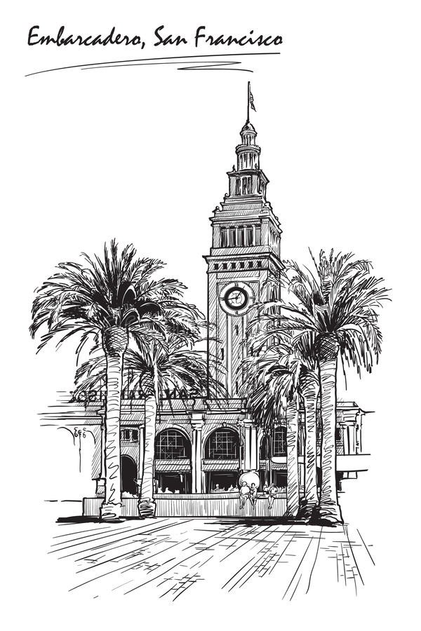 Panorama Embarcadero Nakreślenie odizolowywający na białym tle EPS10 wektorowa ilustracja ilustracja wektor