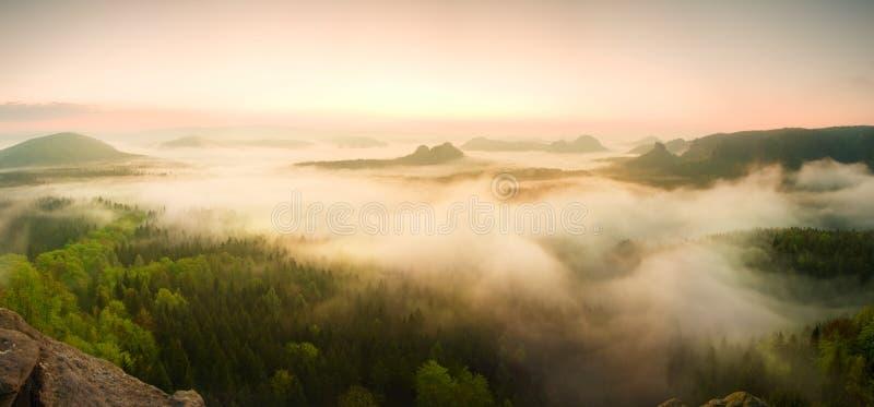 Panorama enevoado da paisagem Nascer do sol sonhador fantástico acima do vale enevoado da fada foto de stock