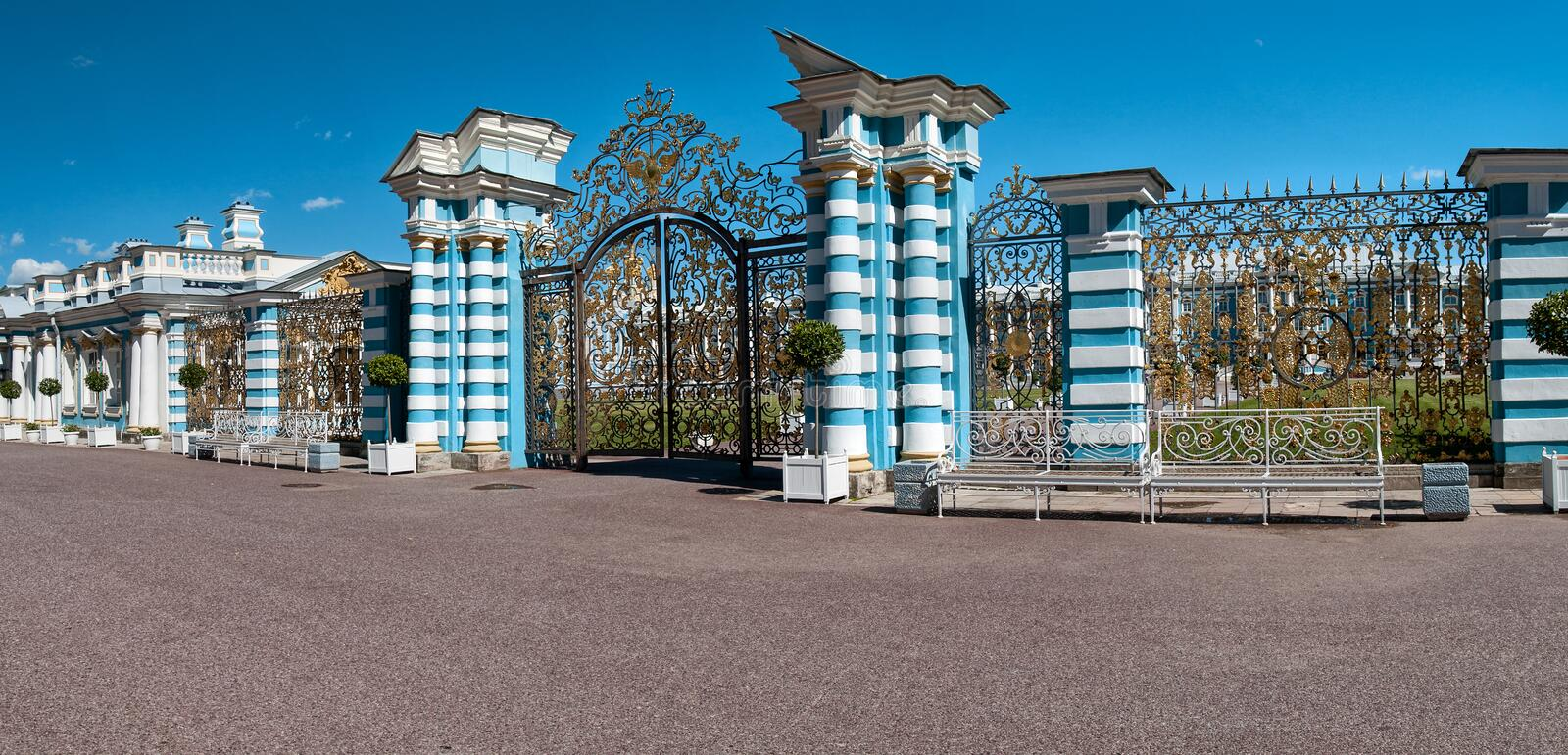 Panorama of the entrance gate with columns of the Eterininsky Pa stock images