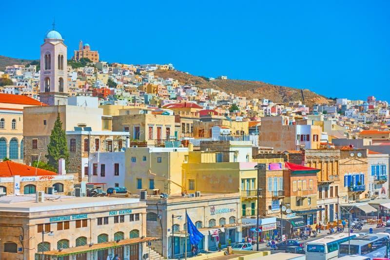 Panorama Ermoupoli miasteczko fotografia royalty free