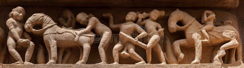 Download Panorama Of Erotic Bas Relief, Khajuraho, India Stock Image - Image: 25166597