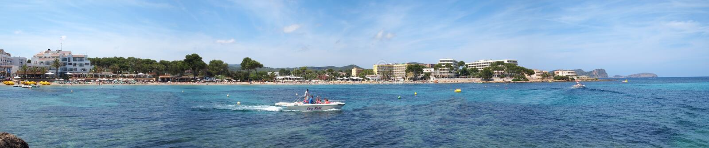 Panorama Es plaża Cana, Ibiza zdjęcia royalty free