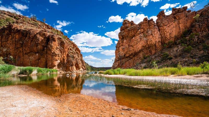 Panorama escénico de la garganta de Glen Helen en el parque nacional del oeste de MacDonnell en el interior central Australia fotografía de archivo libre de regalías