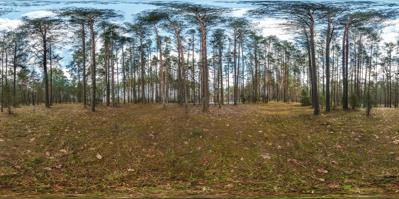 Panorama esférico completo del hdri 360 grados de opinión de ángulo sobre la trayectoria peatonal del carril del sendero y de bic fotografía de archivo