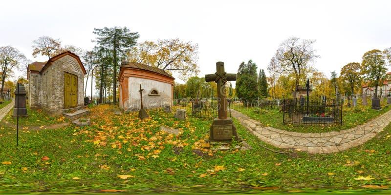 panorama esférico 3D con ángulo de visión 360 Aliste para la realidad virtual o VR Proyección equirectangular completa Cementerio fotografía de archivo