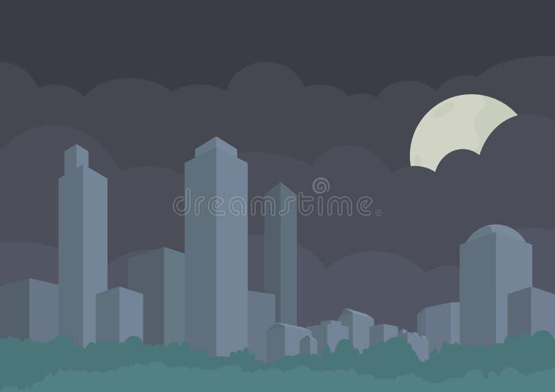 Panorama estilizado do vetor da cidade Construções, arranha-céus e árvores Fundo das nuvens de noite com lua escondida ilustração royalty free