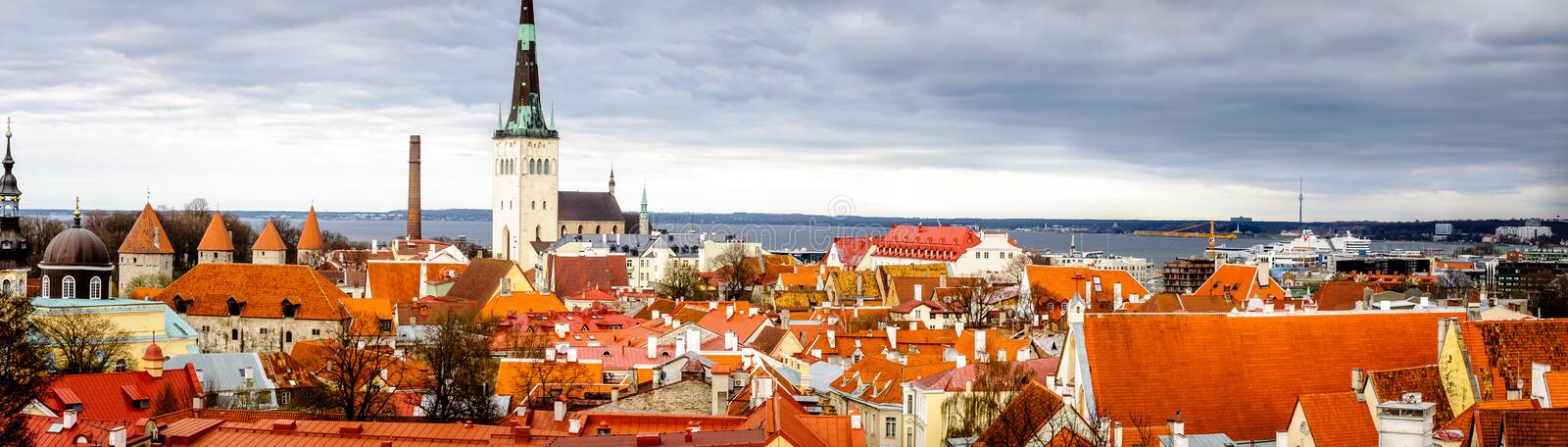 Panorama of Estonia, Tallinn. Unlike many other capital cities in Europe, Tallinn has managed to wholly preserve its structure of medieval and Hanseatic origin royalty free stock photography