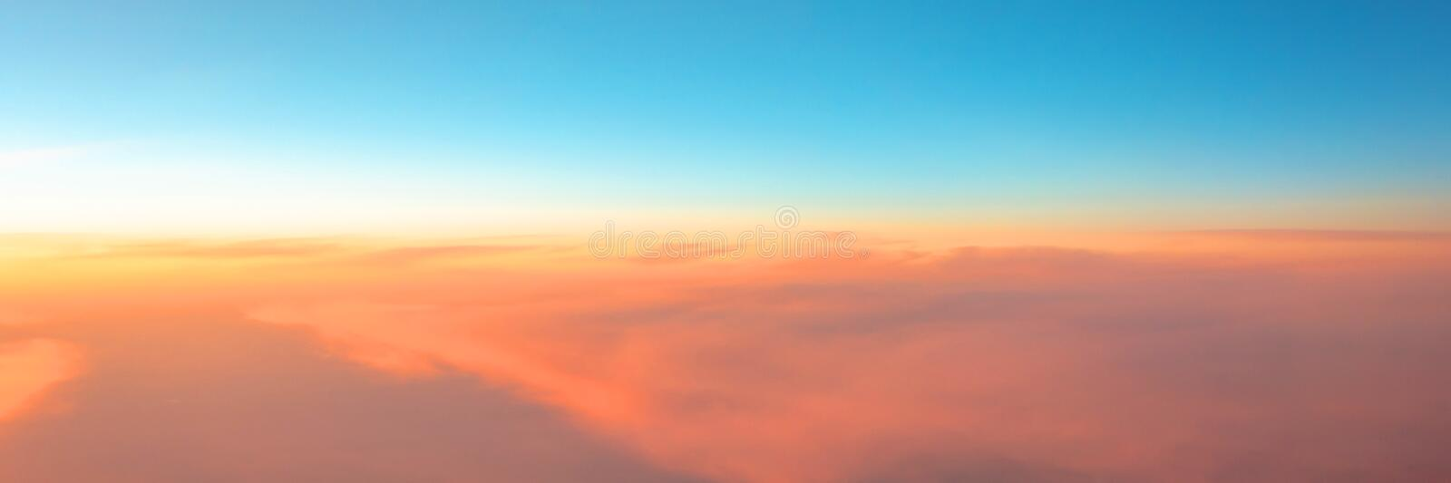 Panorama of the evening sky sunset gradient from warm to cold color royalty free stock photos