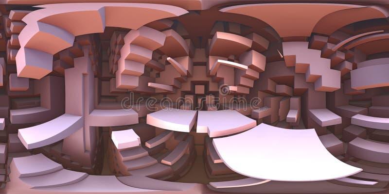 panorama extraño del mundo del laberinto de 360 grados, proyección equirectangular, mapa del ambiente Panorama esférico de HDRI ilustración del vector