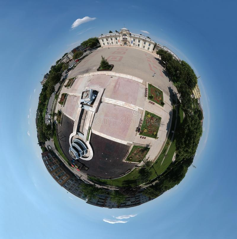 Panorama för Caracal Rumänien ner stad 360 fotografering för bildbyråer