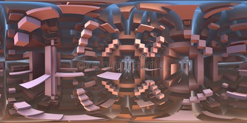 panorama för 360 grad konstig labyrintvärld, equirectangular projektion, miljööversikt Sfärisk panorama för HDRI vektor illustrationer