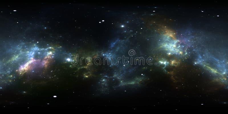 panorama för 360 grad utrymmenebulosa, equirectangular projektion, miljööversikt Sfärisk panorama för HDRI vektor illustrationer