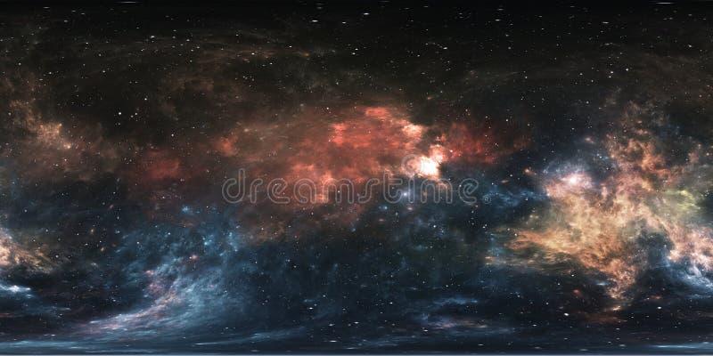 panorama för 360 grad utrymmenebulosa, equirectangular projektion, miljööversikt Sfärisk panorama för HDRI Natthimmel med massor  vektor illustrationer
