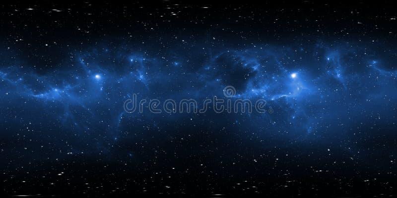 panorama för 360 grad utrymmenebulosa, equirectangular projektion, miljööversikt Sfärisk panorama för HDRI Natthimmel med massor  royaltyfri illustrationer