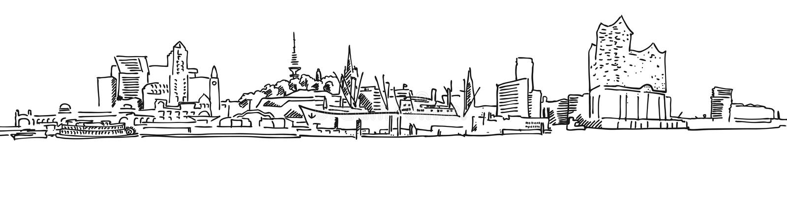 Panorama för horisontHamburg port stock illustrationer