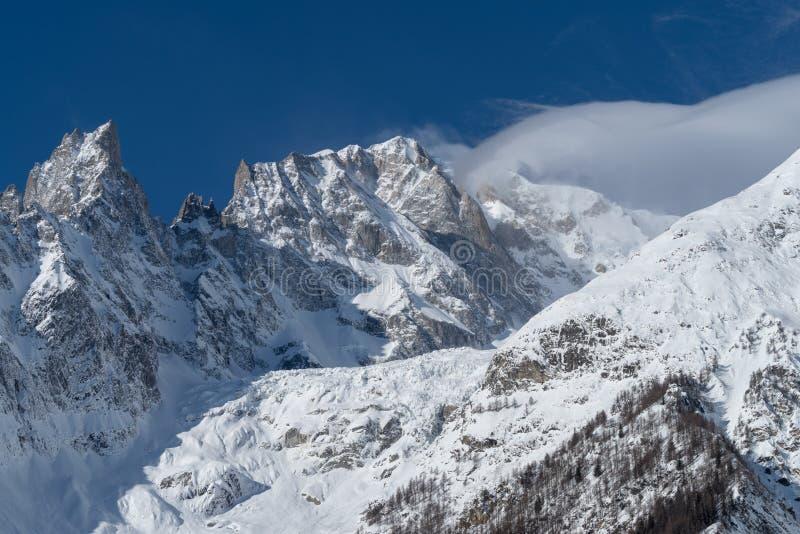 panorama för mont för massiv för alpsblanc italiensk royaltyfri fotografi