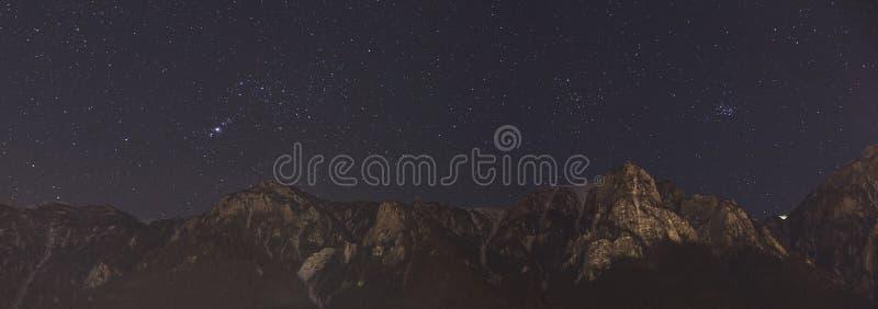 Panorama för natthimmel royaltyfri bild
