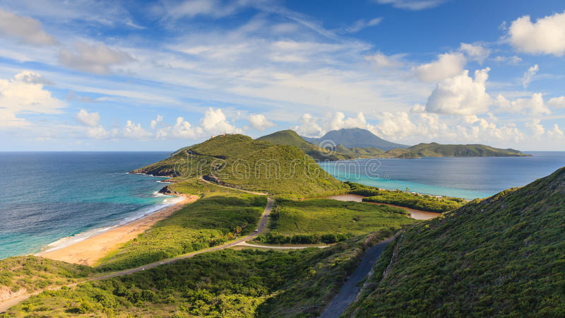 Panorama för St Kitts arkivbilder