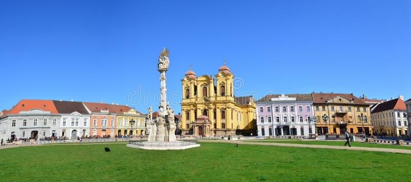 Panorama för Timisoara unionfyrkant royaltyfria bilder