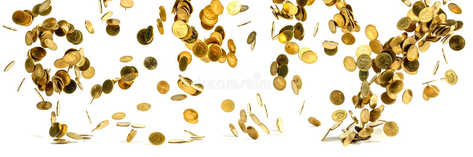 Panorama of falling gold coins money isolated on the white background, business wealth concept. stock photo