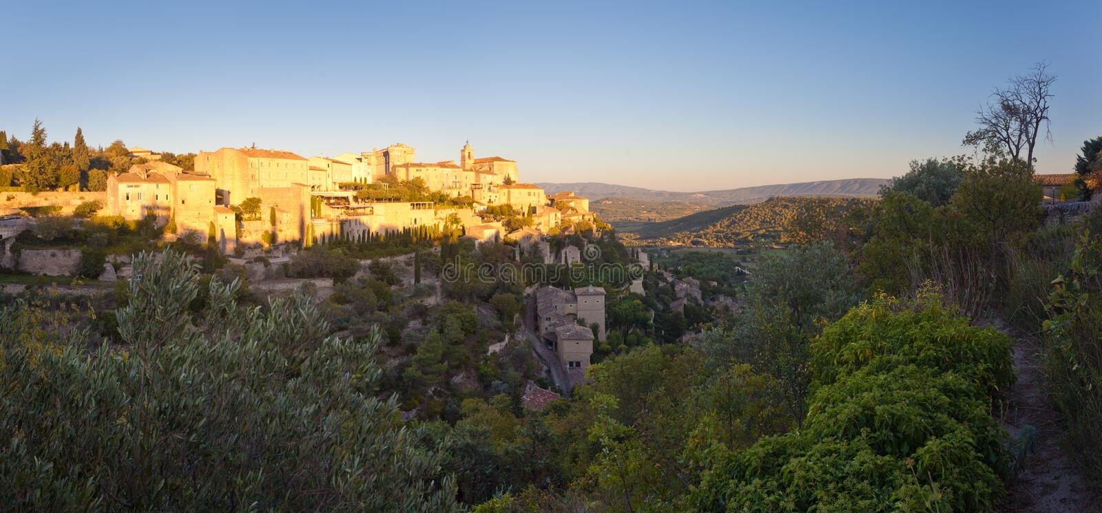 Panorama of famous Gordes medieval village sunrise view, Provence, France, Europe royalty free stock images