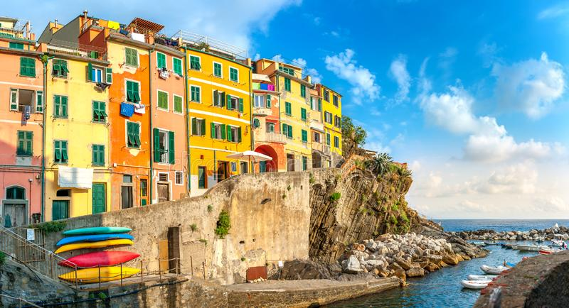 Panorama of the famous Italian seaside Villlage Riomaggiore. Cinque Terre. Italy stock photography