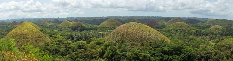 Panorama of famous landmark chocolate hills in Bohol island royalty free stock photography