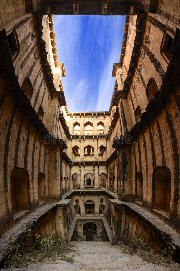 Panorama of Famous stepwell / baori, situated in the village Nee. Panoramic view of famous stepwell / baori, situated in the village Neemrana, Rajasthan, India royalty free stock photo