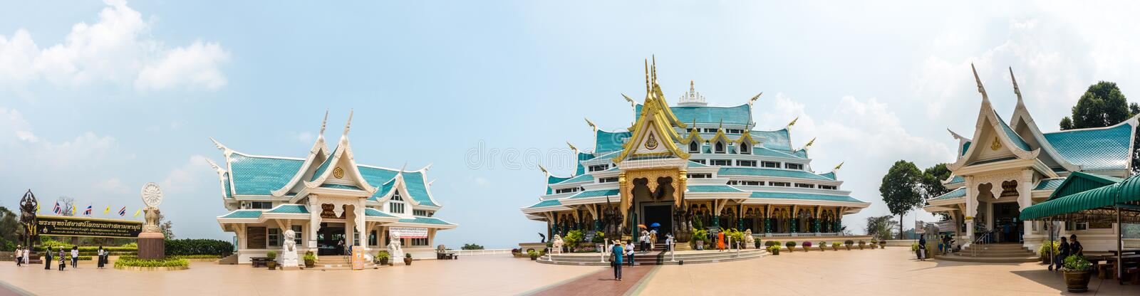 Panorama of famous unique blue roof of Buddhism sacred halls of Wat Pha Phu Gon temple. UDONTHANI, THAILAND - MARCH 17, 2018 : Panorama of famous unique blue royalty free stock photos