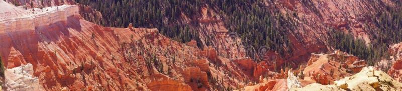 Panorama, fantasticly eroded red Navajo sandstone pinnacles royalty free stock photos