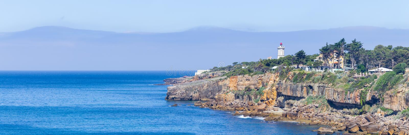 Panorama Farol da Guia latarnia morska, Cascais obraz royalty free