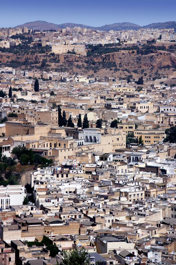 Panorama of Fes in a sunny day of August. Morocco, North Africa. Fes, is a town of Morocco, North Africa, in a sunny day of August royalty free stock photos