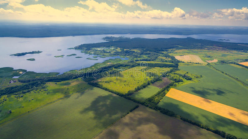 A panorama of a field of summer days stock photos