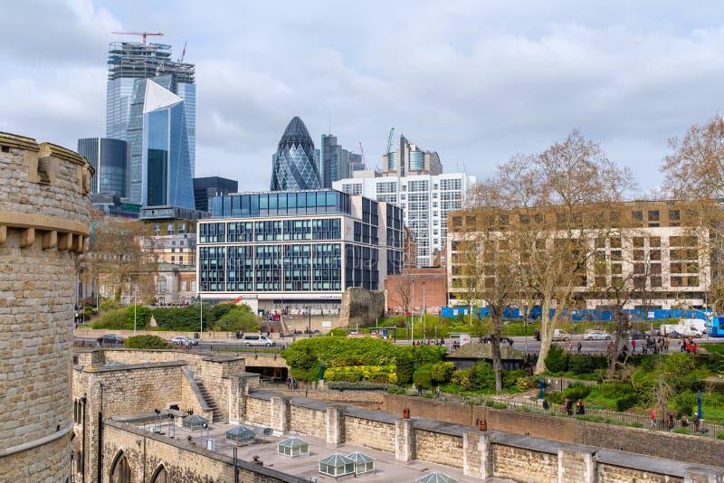 Panorama financiero del distrito de Londres fotografía de archivo libre de regalías
