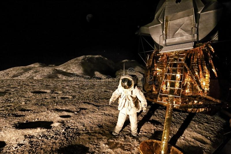 Panorama of first man on the moon landing stock photos
