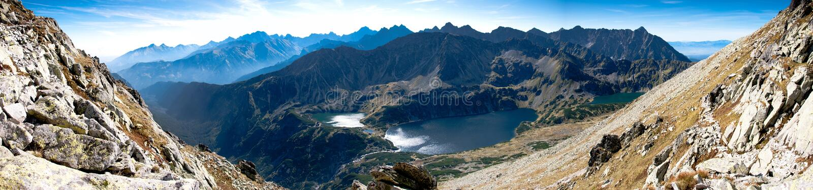 Panorama Of Five Lakes Village In Tatra Mountain Stock Photography