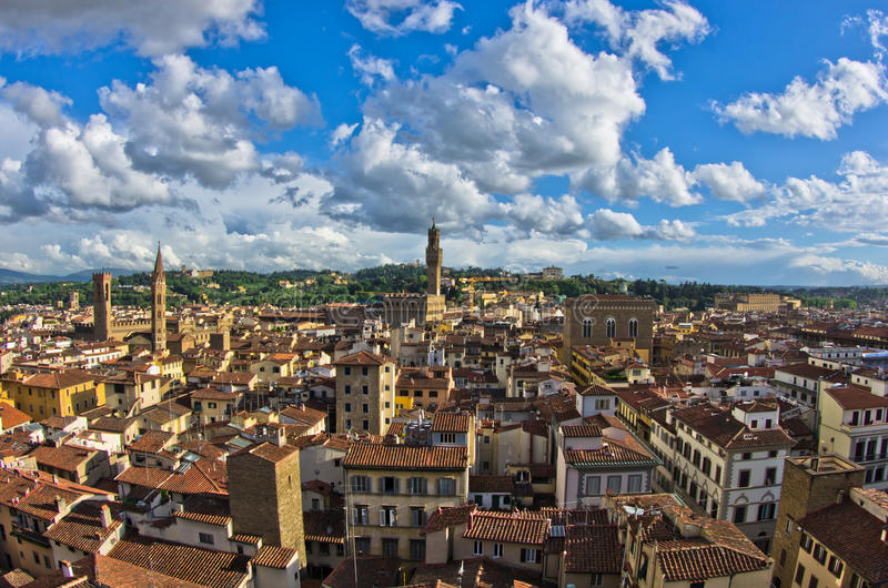 Panorama of Florence with Palazzo Vecchio and other landmarks, Tuscany. Italy stock photos