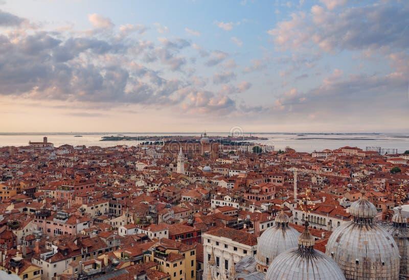 Panorama- flyg- cityscape av, Venedig, Italien arkivfoto