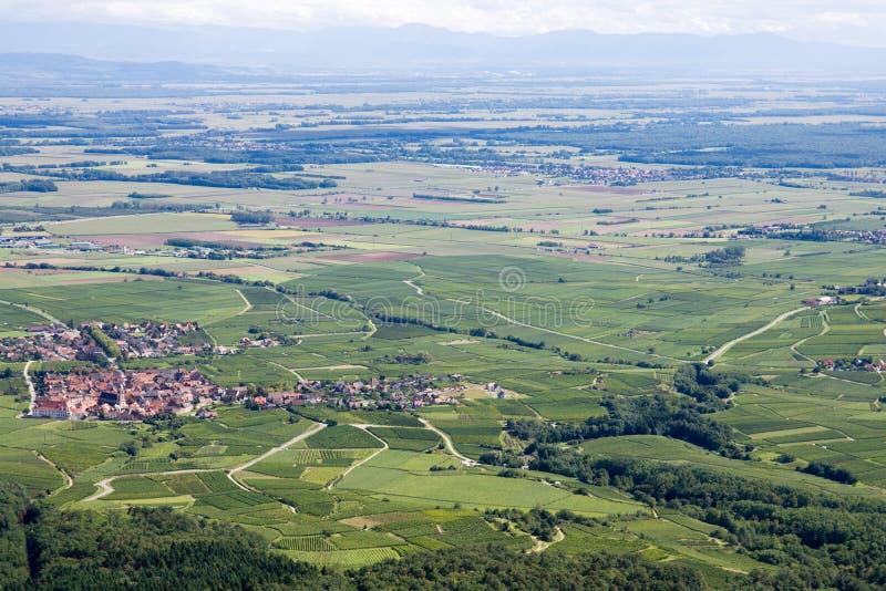 Panorama- flyg- sikt övreRhenslätten i Alsace, Frankrike arkivbilder